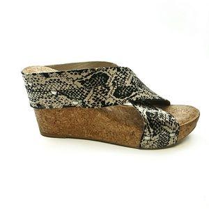Lucky Brand Miller Snake Print Wedge Sandal Cork